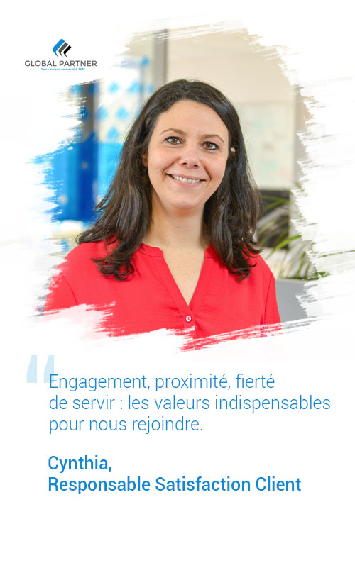 Photo de Cynthia responsable Satisfaction client, un metier global partner